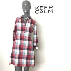 Theory Dominica Plaid Shirt Dress Red White Gray